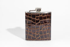 Hip flask on white Stock Images