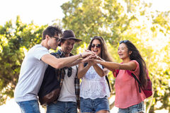 Hip friends cheering up. In the streets Royalty Free Stock Photography