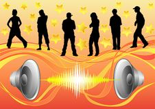 Hip hop. Silhouettes of dancers диско on a background of the sound equipment vector figure is easily edited Royalty Free Stock Photo