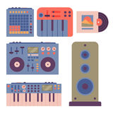 Hip hop accessory musician instruments breakdance expressive rap music dj vector illustration. Royalty Free Stock Images