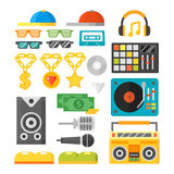 Hip hop accessory musician with microphone breakdance expressive rap symbols vector illustration. Royalty Free Stock Images