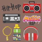Hip hop accessory musician with microphone breakdance expressive rap symbols vector illustration. Royalty Free Stock Photos