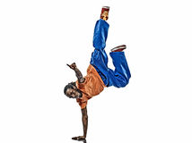 Hip hop acrobatic break dancer breakdancing young man handstand. One hip hop acrobatic break dancer breakdancing young man handstand silhouette white background Royalty Free Stock Photography