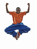 Hip hop acrobatic break dancer breakdancing young man jumping si Stock Images