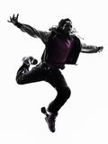 Hip hop acrobatic break dancer breakdancing young man jumping si. One hip hop acrobatic break dancer breakdancing young man jumping silhouette white background Stock Image
