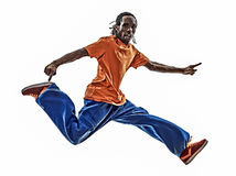Hip hop acrobatic break dancer breakdancing young man jumping si Stock Photography