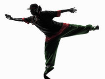 Hip hop acrobatic break dancer breakdancing young man silhouette. One hip hop acrobatic break dancer breakdancing young man silhouette white background Royalty Free Stock Images