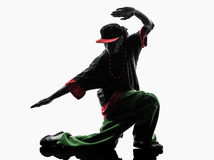 Hip hop acrobatic break dancer breakdancing young man silhouette Stock Image