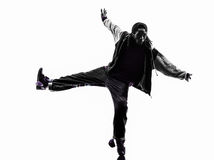 Hip hop acrobatic break dancer breakdancing young man silhouette Royalty Free Stock Photography