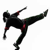 Hip hop acrobatic break dancer breakdancing young man silhouette. One hip hop acrobatic break dancer breakdancing young man silhouette white background Stock Photography