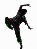 Hip hop acrobatic break dancer breakdancing young man silhouette. One hip hop acrobatic break dancer breakdancing young man silhouette white background Stock Photos