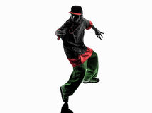 Hip hop acrobatic break dancer breakdancing young. One hip hop acrobatic break dancer breakdancing young man silhouette white background Stock Photo
