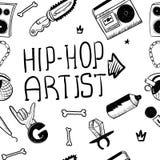 Hip hop artist. Hip hop doodle pattern with rap attributes stock images