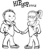 Hip hop boy and girl holding hands, vector  illustration Stock Images