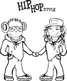 Hip hop boy and girl holding hands,  vector illustration Royalty Free Stock Photos