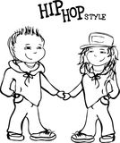 Hip hop boy and girl holding hands, vector  illustration Royalty Free Stock Images