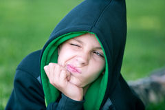 Hip-hop boy making faces Stock Images