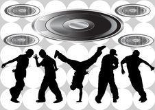 Hip hop boys. Vector image of hip hop dancers. Silhouettes on the background of musical instruments Royalty Free Stock Images