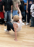 Hip hop - breakdance 1. A crowd watching a person perform a breakdance stock photography