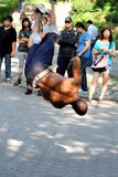Hip-Hop breakdancer competes in Central Park, NYC. Stock Photos