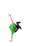 Hip hop breakdancer performing. Handstand on one hand stock images