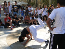 Hip-Hop breakdancers compete in pairs, Royalty Free Stock Photo