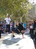 Hip-Hop breakdancers compete in pairs, Royalty Free Stock Photography