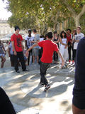 Hip-Hop breakdancers compete in pairs, Royalty Free Stock Photos