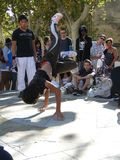 Hip-Hop breakdancers compete in pairs, Stock Photography
