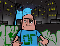 Hip hop cartoon. A teenage rapper in an urban alley Royalty Free Stock Images