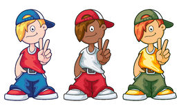 Hip Hop Cartoon Boy Set. A set of hip hop cartoon boys in different colors showing victory sign Royalty Free Stock Photo