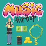 Hip hop character musician with microphone breakdance expressive rap portrait vector illustration. Royalty Free Stock Image