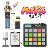 Hip hop character musician with microphone breakdance expressive rap portrait vector illustration. Stock Photos