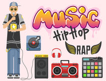 Hip hop character musician with microphone breakdance expressive rap portrait vector illustration. Royalty Free Stock Photography