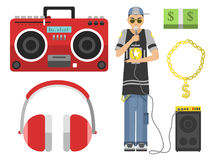 Hip hop character musician with microphone breakdance expressive rap portrait vector illustration. Stock Photography