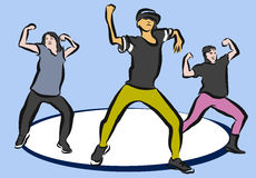 Hip Hop Choreography on Blue. Sketched Vector Artwork Royalty Free Stock Images