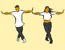 Hip Hop Choreography. Hand Drawn Sketched Artwork Stock Photo
