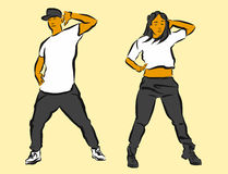 Hip Hop Choreography. Hand Drawn Sketched Artwork Stock Photography