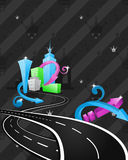 Hip hop city artwork. Cartoon city illustration with crossing roads. Artwork decorated with striped repetitive crown background and modern elements Royalty Free Stock Photo