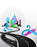 Hip hop city artwork. Cartoon city illustration with crossing roads. Artwork decorated with striped repetitive crown background and modern elements Stock Images