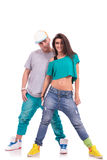 Hip hop couple, man behind woman Royalty Free Stock Photo
