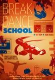 Hip Hop Dance Poster. Hip hop dance colored poster or flyer with headline break dance school vector illustration royalty free illustration