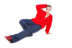 Hip hop dance sitting Royalty Free Stock Photography