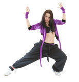 Hip hop dancer. Young hip hop dancer posing isolated on white background Royalty Free Stock Photos