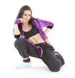 Hip hop dancer. Young hip hop dancer posing on white background Stock Image