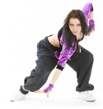 Hip hop dancer. Young hip hop dancer posing on white background Stock Images