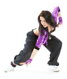 Hip hop dancer. Young hip hop dancer posing on white background Royalty Free Stock Image