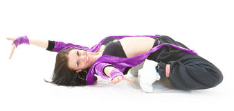 Hip hop dancer. Young hip hop dancer posing on white background Royalty Free Stock Photos
