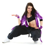 Hip hop dancer. Young hip hop dancer posing on white background Royalty Free Stock Photo