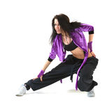 Hip hop dancer. Young hip hop dancer posing on white background Stock Photos